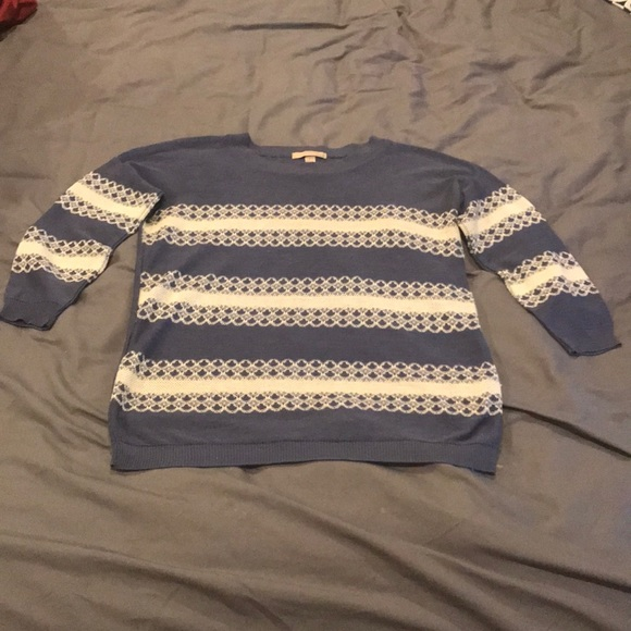One A Sweaters - oneA Blue & White Long Sleeve Sweater Shirt